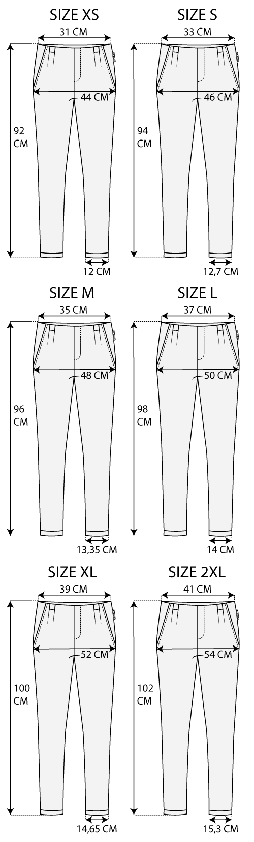 Maattabel easy pant