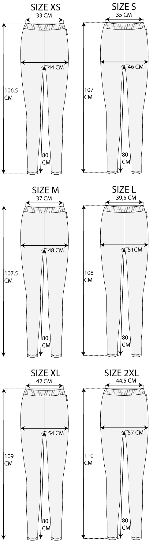 Maattabel Legging Travel