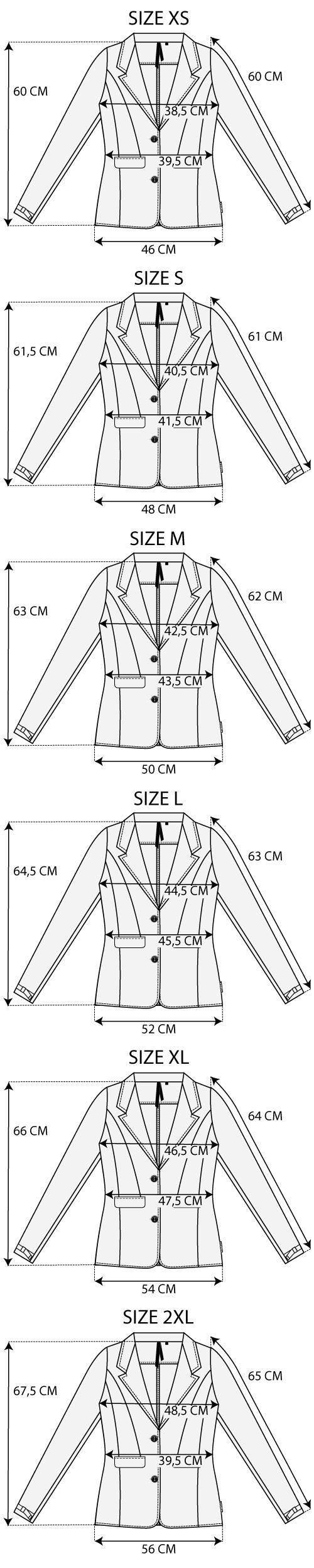 Maattabel Easy Jacket