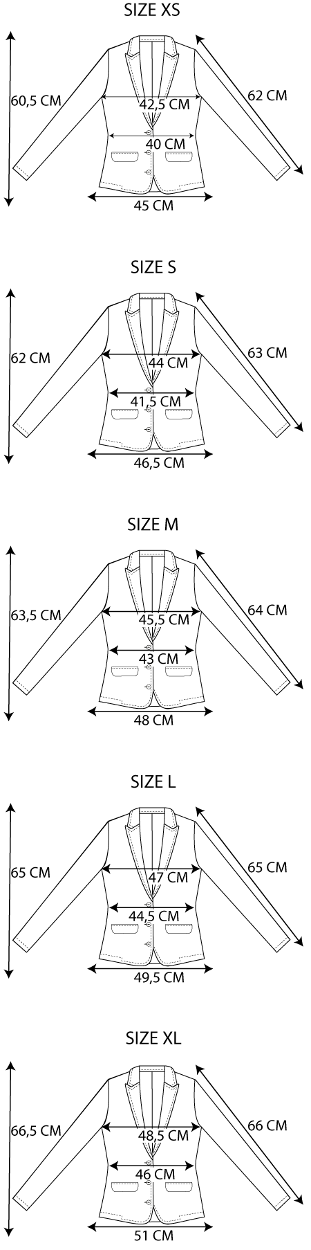 Maattabel easy jacket