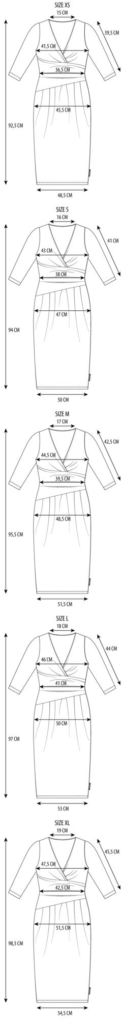 Maattabel la robe pleated