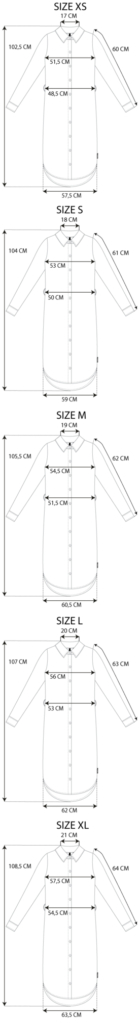 Maattabel shirt dress