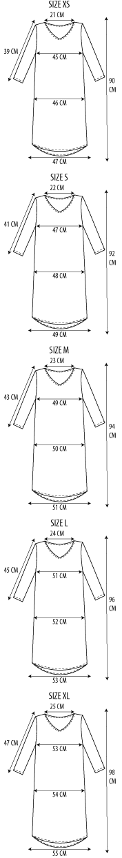 Maattabel shift dress