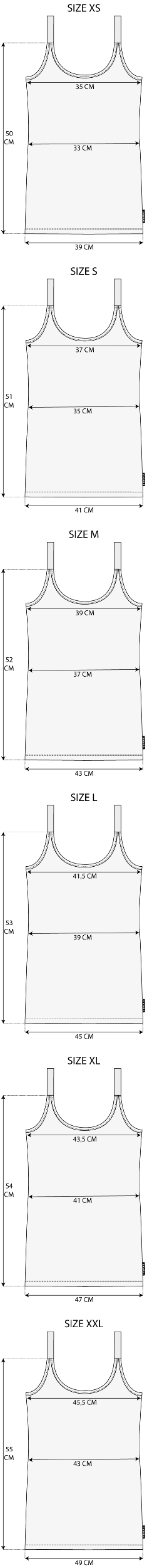 Maattabel Tank