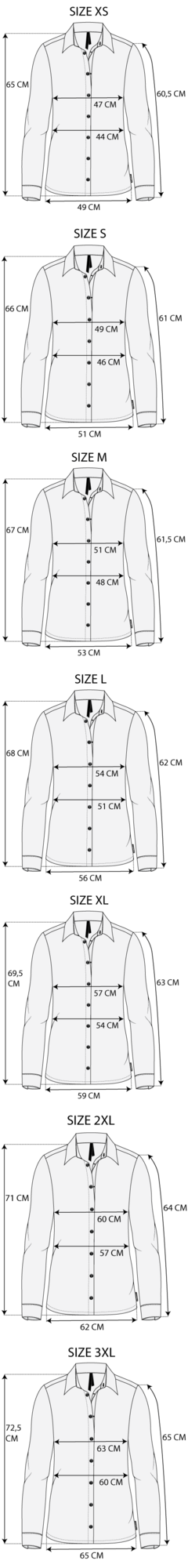 Maattabel blouse travel