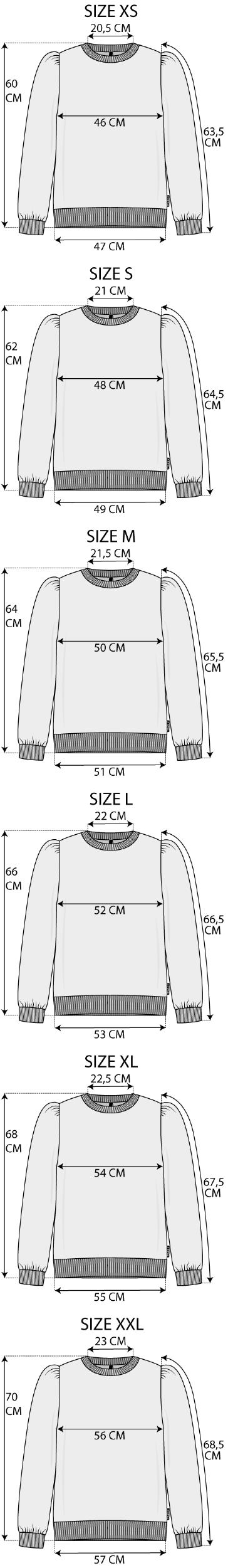 Maattabel Sweater
