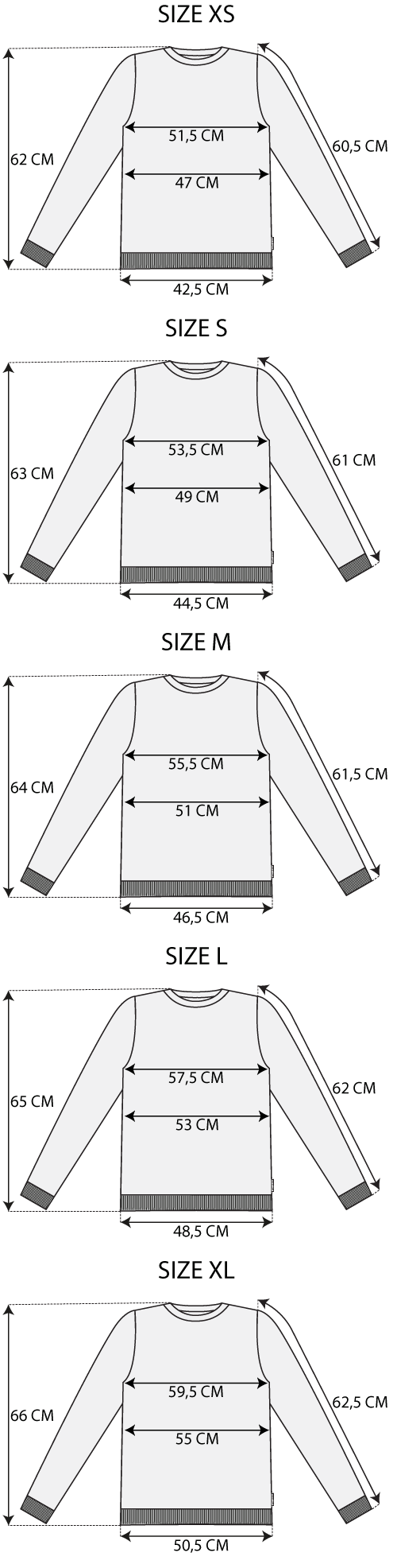 Maattabel sweater