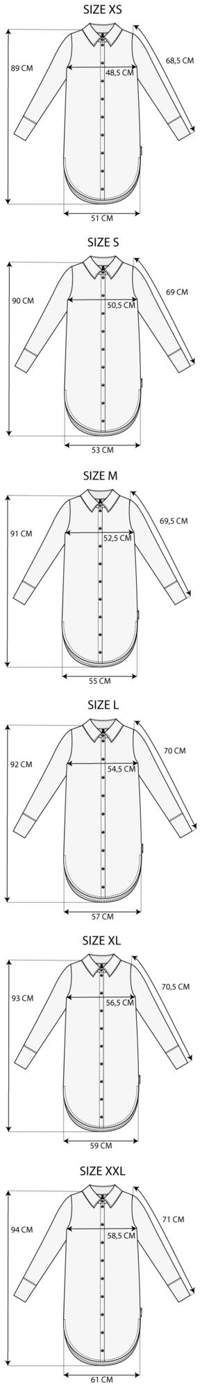 Maattabel tunic blauw